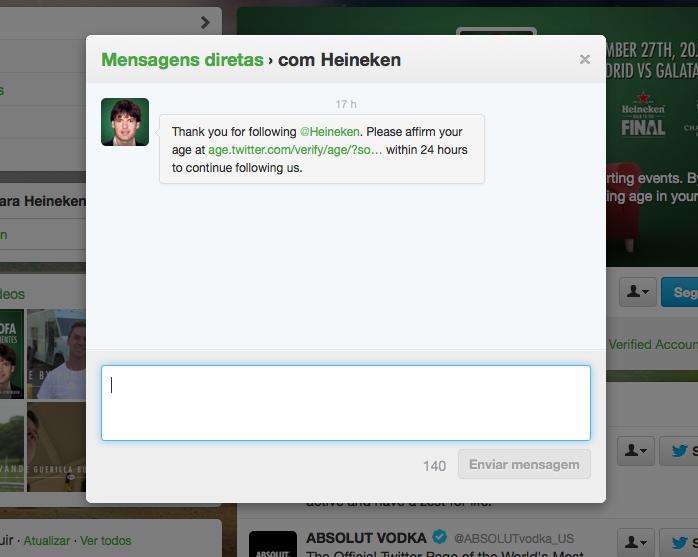 Mensagem Direta enviada pela Heineken para usuários do Twitter (Foto: Reprodução/Twitter)