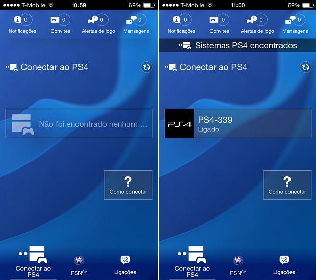 Esta é a interface do app do PlayStation 4 (Foto: Reprodução/Thiago Barros)
