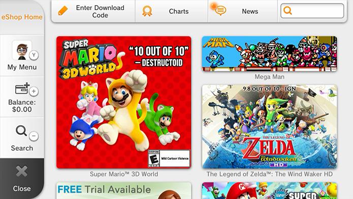 O eShop é a forma mais fácil de comprar jogos para o console (Foto: Reprodução/Murilo Molina)