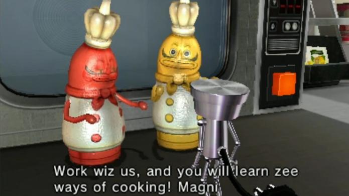 Os carismáticos cozinheiros oferecem um trabalho para Chibi-Robo (Foto: technobuffalo.com)