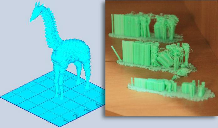 Modelos verticais com bases estreitas, como essa girafa, são tarefas impossíveis para a Cube, que além de perder a linha, gasta uma enormidade de material com alicerces (Foto: Renato Bazan/TechTudo)