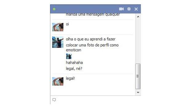 Emoticon com foto do perfil no Facebook (Foto: Reprodução/Thiago Barros)