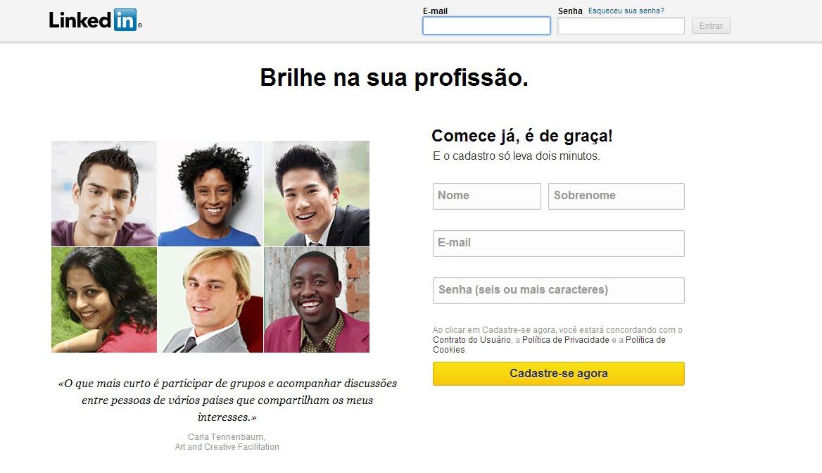 Crie sua conta no LinkedIn (Foto: Reprodução/Barbara Mannara)