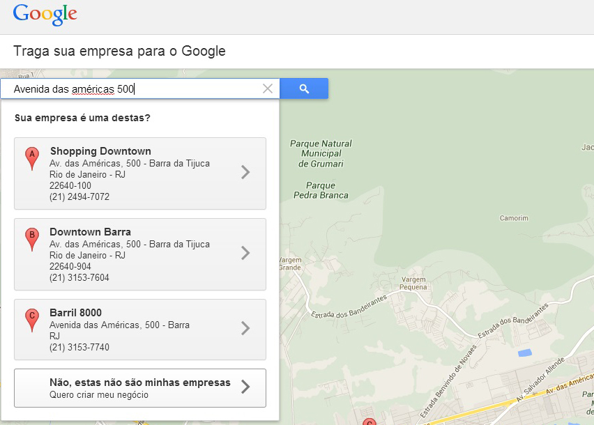 Digite o endereço da sua empresa para cmeçar o cadastro no Google (Foto: Reprodução/Barbara Mannara)