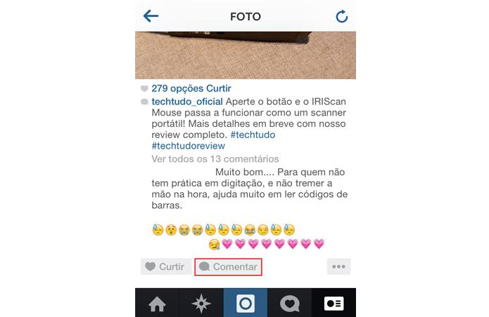 Para apagar um comentário no Instagram, primeiro clique no balão de comentário (Foto: Reprodução/TechTudo)