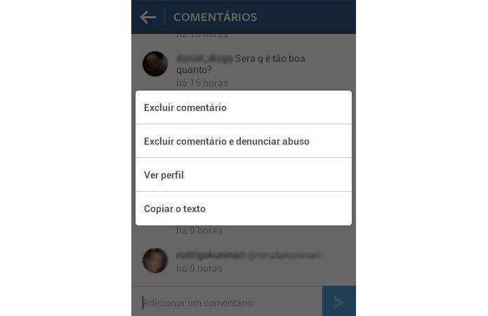 Apague comentários indesejados da sua conta no Instagram (Foto: Reprodução/TechTudo)