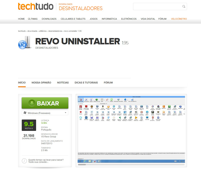 Faça o download direto da versão gratuita do Revo Uninstaller no TechTudo Downloads (Foto: Reprodução/Barbara Mannara)