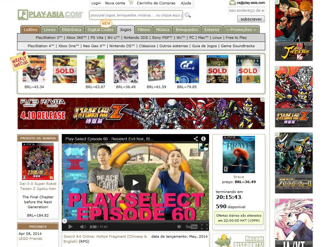 Site Play Asia foca no mundo dos games com acessórios e jogos (Foto: Reprodução/Barbara Mannara)