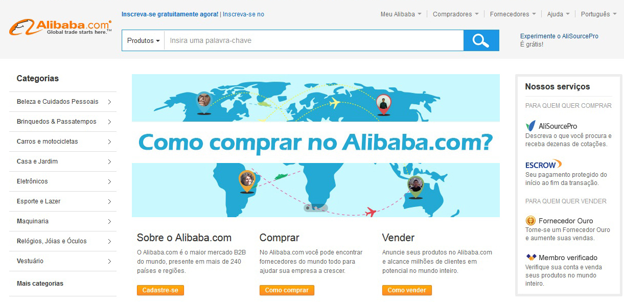 Site Alibaba.com é em português e oferece diversos produtos (Foto: Reprodução/Barbara Mannara)