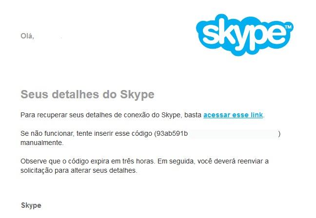 Clique no link ou copie o código para acessar sua conta no Skype (Foto: Reprodução/Carol Danelli)