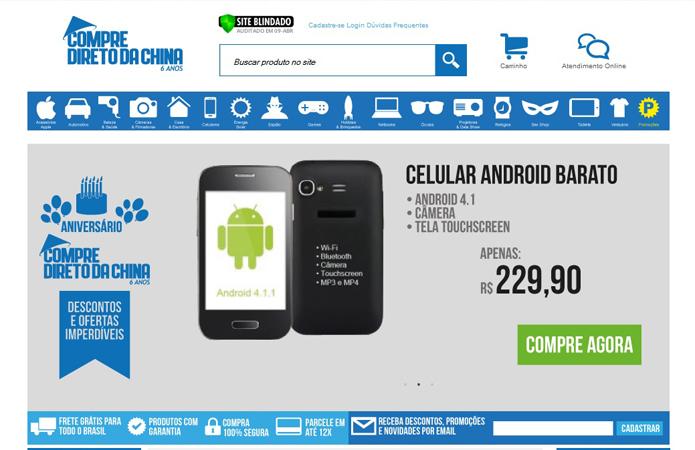 Site Comprediretodachina.com.br vende os mais diversos produtos com página em português (Foto: Reprodução/Barbara Mannara)