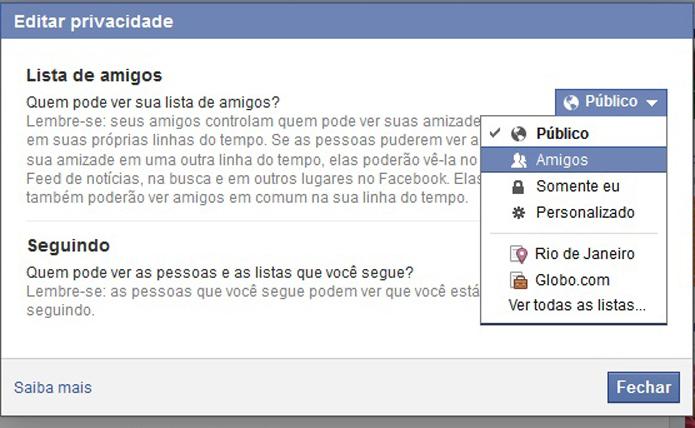 Em seguida acesse as configurações da lista de amigos no Facebook (Foto: Reprodução/Barbara Mannara)