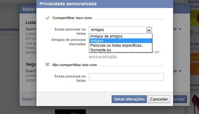 Opções personalizadas para configuração da lista de amigos do Facebook (Foto: Reprodução/Barbara Mannara)