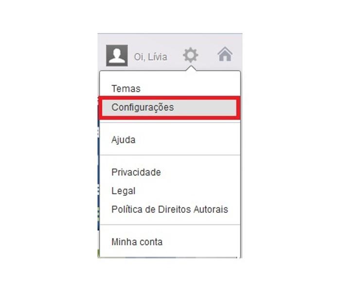 Acesso às configurações do e-mail (Foto: Reprodução/Lívia Dâmaso)