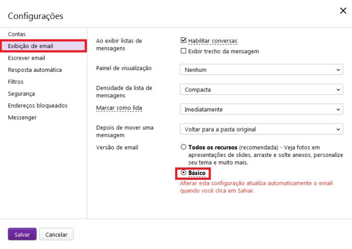 Opções de exibições de e-mail e retorno à versão antiga(Foto: Reprodução/Lívia Dâmaso)