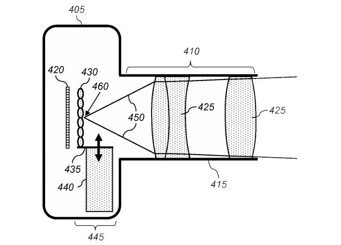 Esquema revela o conjunto de lentes que permite fotos com foco regulável (item 430) Foto: Reprodução/The Verge
