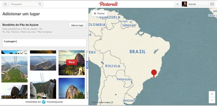Escolha uma imagem e adicione o pin ao mapa (Foto: Reprodução/ Pinterest)