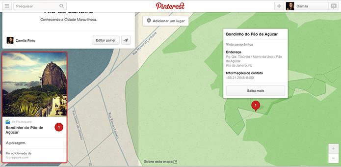 Veja detalhes sobre o local ao clicar no pin adicionado ao mapa (Foto: Reprodução/ Pinterest)