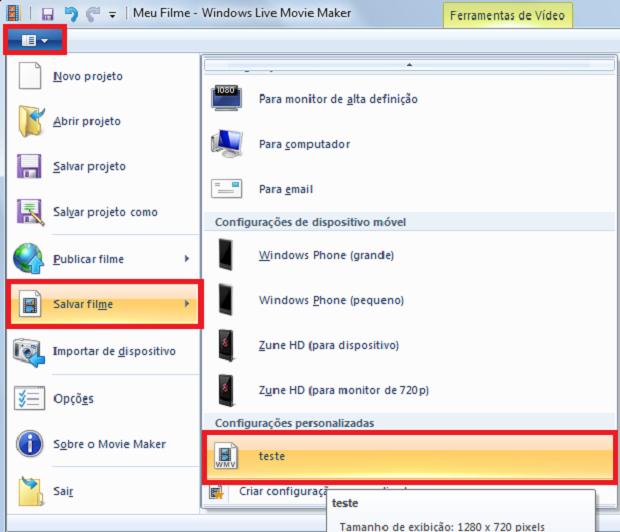 Agora é só selecionar a configuração que criamos (Foto: Reprodução / Windows Live Movie Maker)