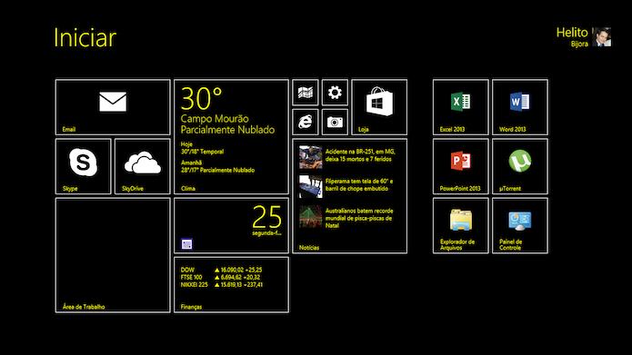 Tela Iniciar do Windows 8.1 com auto contraste ativado (Foto: Reprodução/Helito Bijora)