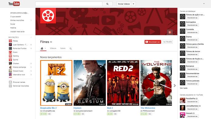 YouTube agora tem aluguel de filmes (Foto: Reprodução/Thiago Barros)