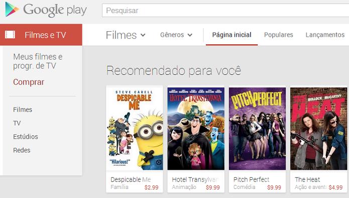 Google Play é semelhante ao iTunes, mas no Android (Foto: Reprodução/Thiago Barros)