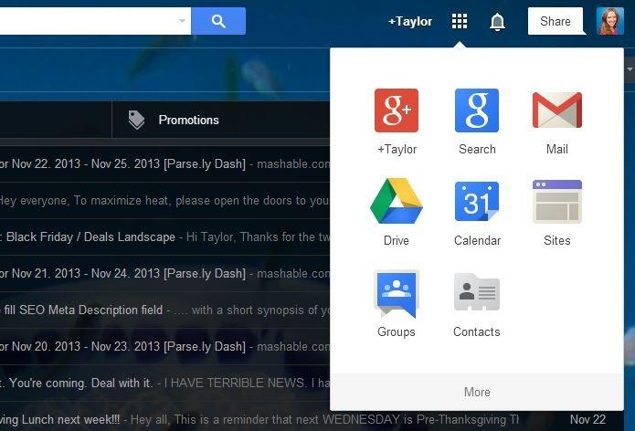 Botão unifica atalhos para serviços do Google (foto: Reprodução/Google)