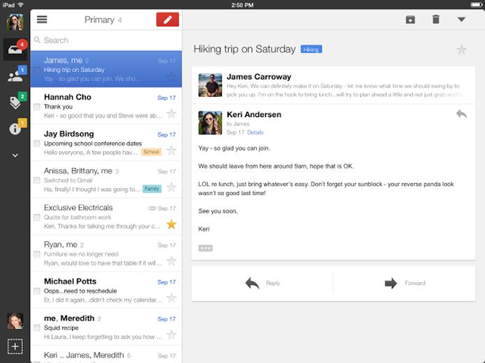 Layout do iPad permite melhor aproveitamento de espaço (foto: Reprodução/Google)