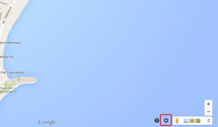 Buscando um local no mapa e clicando sobre o ícone de engrenagem do Google Maps (Foto: Reprodução/Marvin Costa)