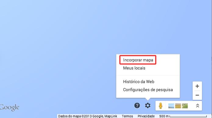 Clicando sobre a opção Incorporar Mapa do Google Maps (Foto: Reprodução/Marvin Costa)
