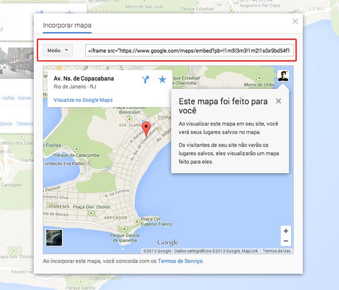 Copiando a embed gerada pelo Google Maps (Foto: Reprodução/Marvin Costa)