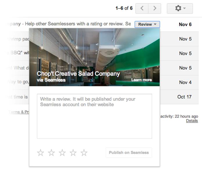 Botões contextuais permitem que o usuário acesse informações sem abrir mensagens (foto: Reprodução/Google)