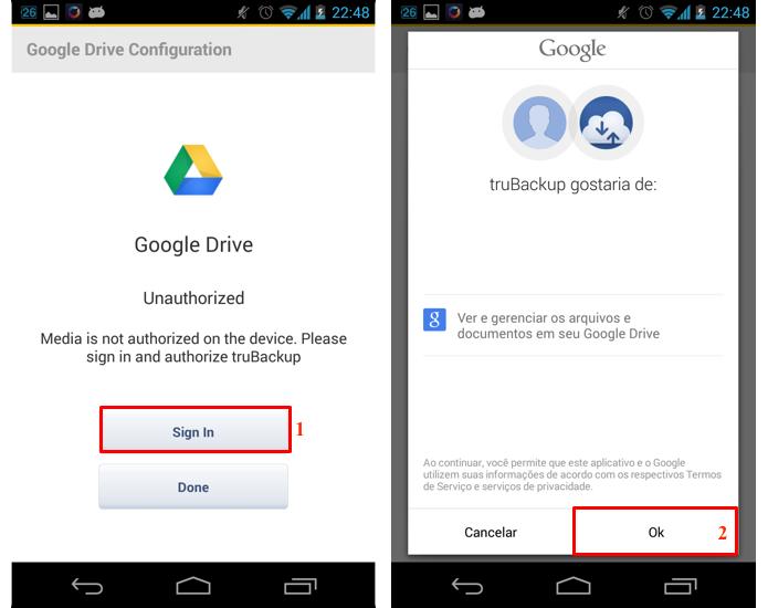 Permita que o app tenha acesso a sua conta do Google (Foto: Reprodução/Thiago Bittencourt)
