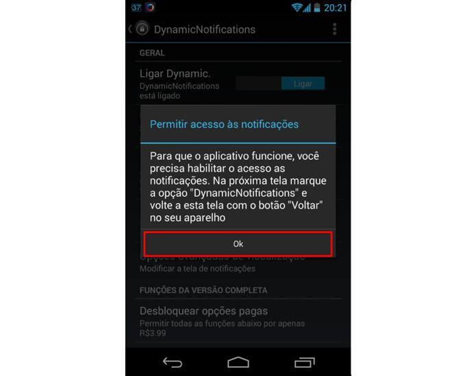 Toque no botão OK para ter acesso as configurações das notificações (Foto: Reprodução/Thiago Bittencourt)