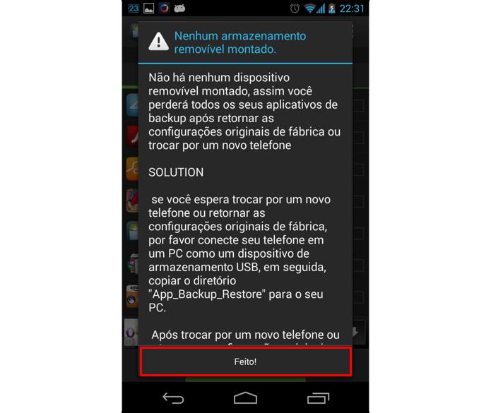 Toque em Feito! para acessar a tela principal do app (Foto: Reprodução/Thiago Bittencourt)