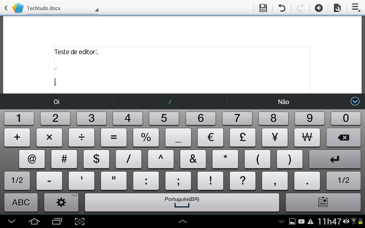 Apague ou escreva palavras no texto do arquivo utilizando as ferramentas de inserção de texto do Android (Foto: Reprodução/Daniel Ribeiro)
