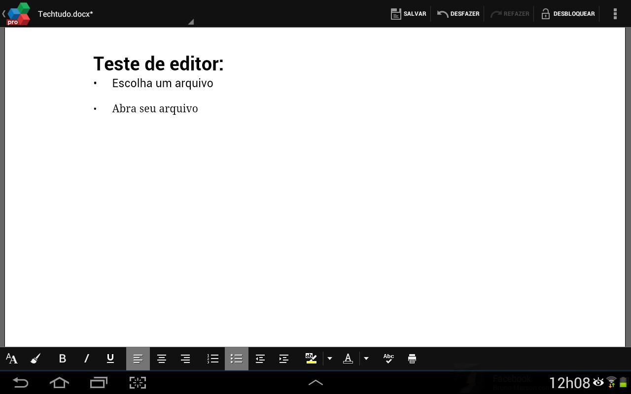 Visualize o documento e edite-o utilizando os recursos na parte de baixo da tela (Foto: Reprodução/Daniel Ribeiro)