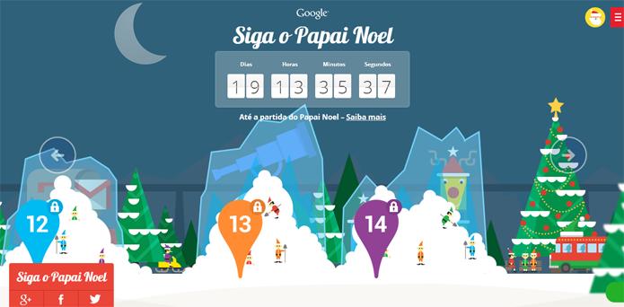 Santa Tracker trás várias atividades temáticas para o Natal (foto: Reprodução/Google)