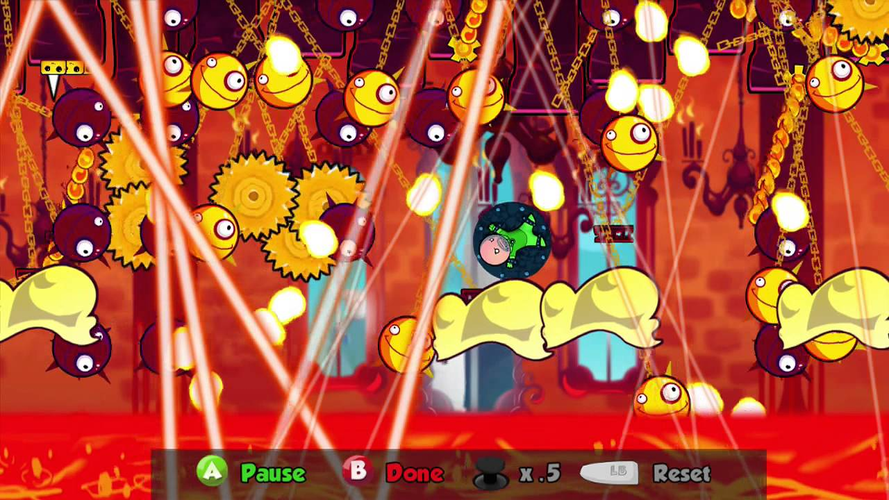 Cloudberry Kingdom: tudo nesta foto (com exceção das nuvens amarelas) pode matar o herói (Foto: Reprodução/Youtube)