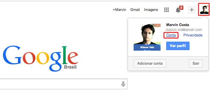 Acessando as configurações de conta do Google (Foto: Reprodução/Marvin Costa)