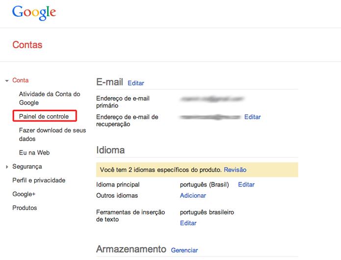 Acessando o painel de controle de sua conta no Google (Foto: Reprodução/Marvin Costa)