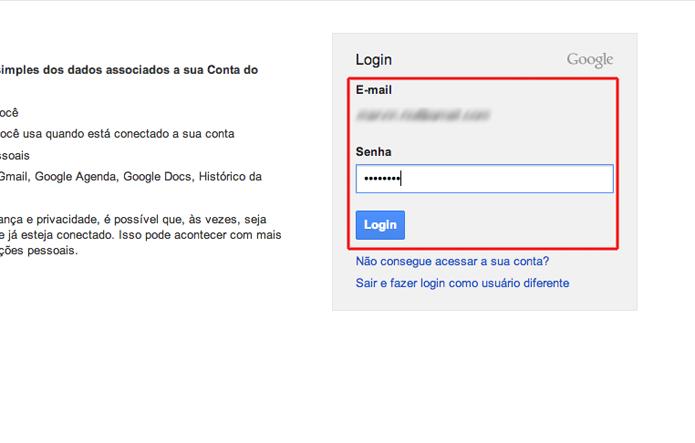 Confirmando seu login e senha para acessar o painel de controle de uma conta do Google (Foto: Reprodução/Marvin Costa)