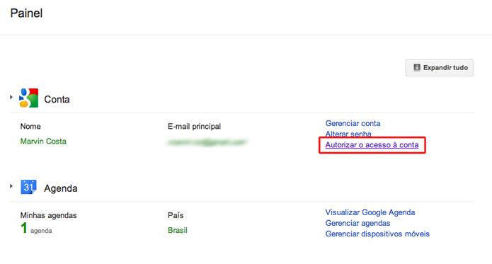 Gerenciando os serviços vinculados a uma conta do Google (Foto: Reprodução/Marvin Costa)