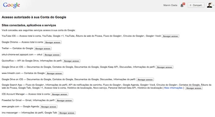 Visualizando a lista com todos os serviços e sites que estão vinculado como um conta do Google (Foto: Reprodução/Marvin Costa)