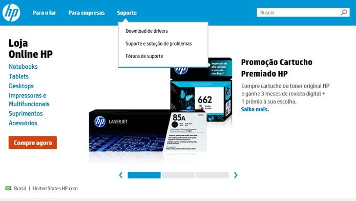 Acesse o download de drivers da impressora (Foto: Reprodução/Carolina Ribeiro)