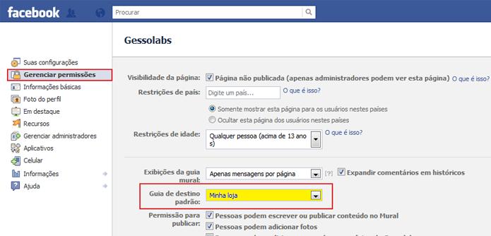 Na edição de sua página no Facebook, selecione a loja no menu Gerenciar Permissões