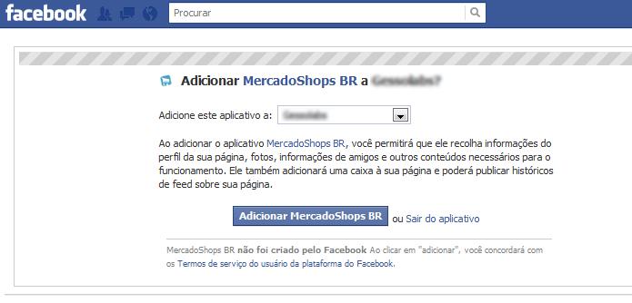 Direcione o aplicativo Mercadoshops para sua página no Facebook