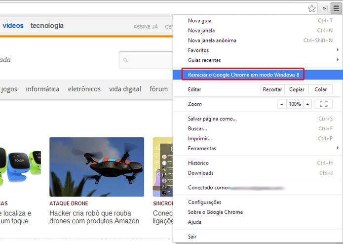 Acessando a opção para reiniciar o Google Chrome no modo Windows 8 (Foto: Reprodução/Marvin Costa)