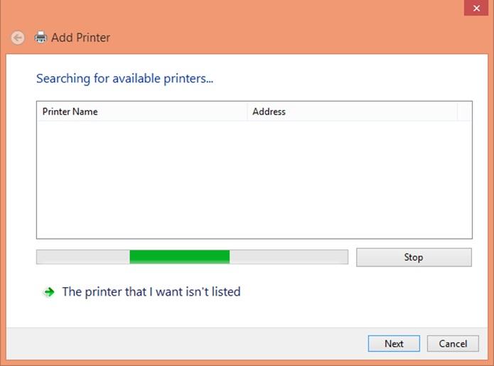 Tentativa de encontrar a impressora no computador (Foto: Reprodução/Carolina Ribeiro)