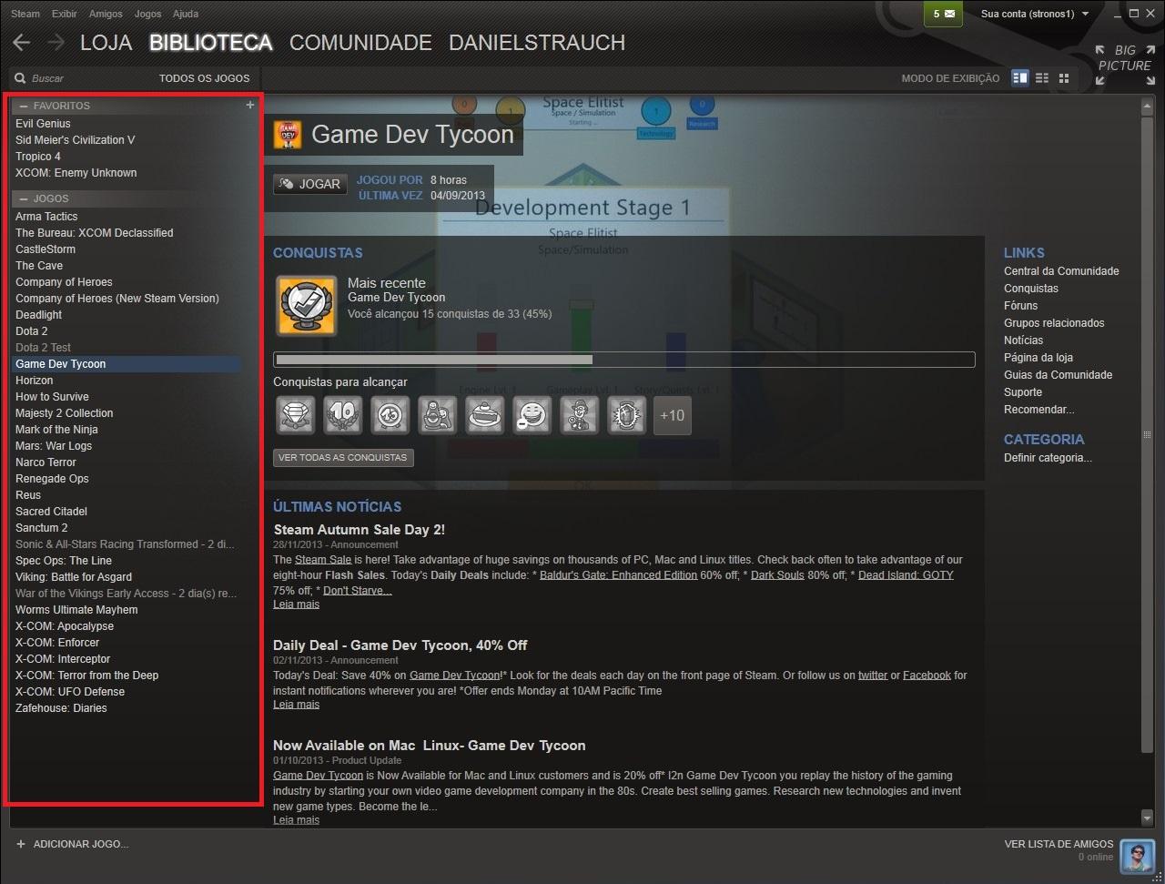 Analise a condição de seus aplicativos e jogos na aba esquerda desta interface (Foto: Reprodução/Daniel Ribeiro)